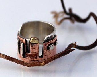 ONE OF A Kind wedding band -14k gold, 925 sterling silver and copper combined ring, Jerusalem walls