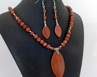 Goldstone Marquise Pendant Necklace Earrings Set Natural Stone