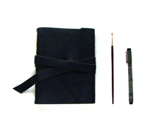 Large Leather Sketchbook, Leather Journal in Navy Blue with Double Wrap Tie