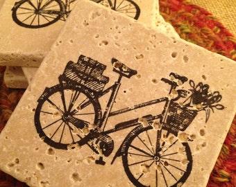Tile Coasters, Travertine Tile Coasters, Travertine Coasters, Drink Coasters, Bicycle Coasters, Wedding Gift, Birthday Gift, Hostess Gift