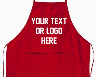 Custom Apron Chef Hair Stylist Apron 2 Pocket Your own Logo or Text Personalized Cooking Arts and Crafts full color graphic