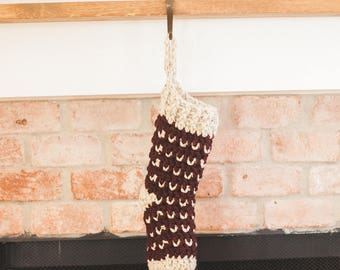Crochet Christmas Stocking--Wheat and Cabernet