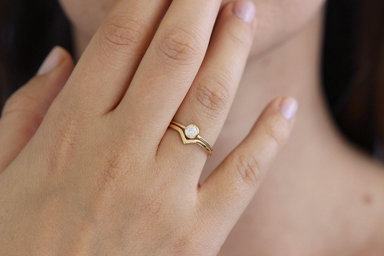 Minimalist Wedding Ring Set Curved Wedding Band Diamond