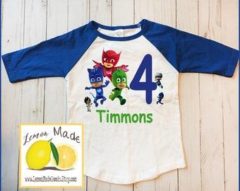 PJ Masks birthday boy t shirt with name blue raglan sleeve size 3 4