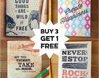 Buy 3 Get 1 FREE Pocket-Sized Notebooks, kraft cover and recycled paper, travel journal, portable sketchbook