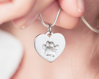Pawprint necklace personalized, heart necklace, actual pawprint, pet sympathy, dog lover gift, remembrance jewelry, custom pet necklace