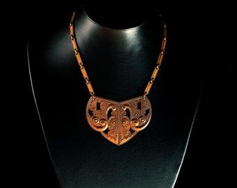 """Vintage Art Nouveau Brass """"Crest"""" Necklace"""