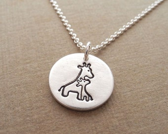 Small Mother and Baby Giraffe Necklace, New Mom Necklace, Fine Silver, Sterling Silver Chain, Made To Order