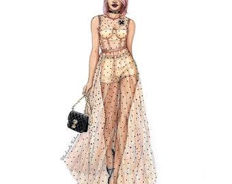 Custom Fashion Illustration, custom fashion drawing, watercolor fashion sketch
