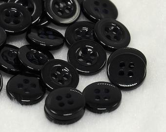 Black Buttons - 50 buttons - 4 hole - 8mm  - #BUTTON331