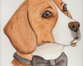 Original Regal Beagle with Bow Tie Water Color Portrait Painting