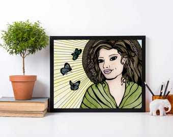 Butterfly Saint - Iconography Inspired Watercolor Painting - Art Print