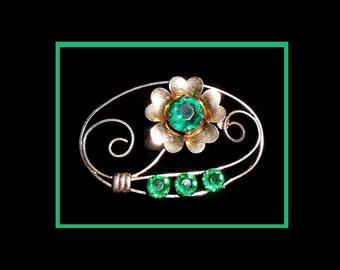 Emerald Vermeil Brooch, Vintage Signed TruArt Brooch, Sterling Silver Vermeil Brooch, 1940s Flower Brooch, Emerald Green Glass Brooch.