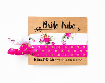 Bride Tribe Bachelorette Hair Tie Favor | Light Pink + Gold Hair Tie Bridesmaid Gift, Blush Rose Pink Peonies Peony Floral Print Boho Gold