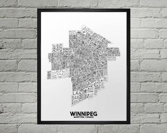 Winnipeg Manitoba Neighbourhood Typography City Map Print