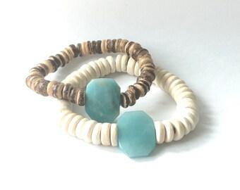 Amazonite Coconut Stretch Bracelet