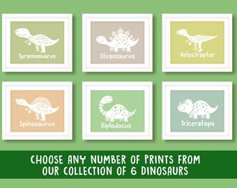 Childrens dinosaur prints, nursery wall art, boys wall art, dinosaur nursery prints, nursery decor, boys bedroom, dinosaur prints, dinosaur