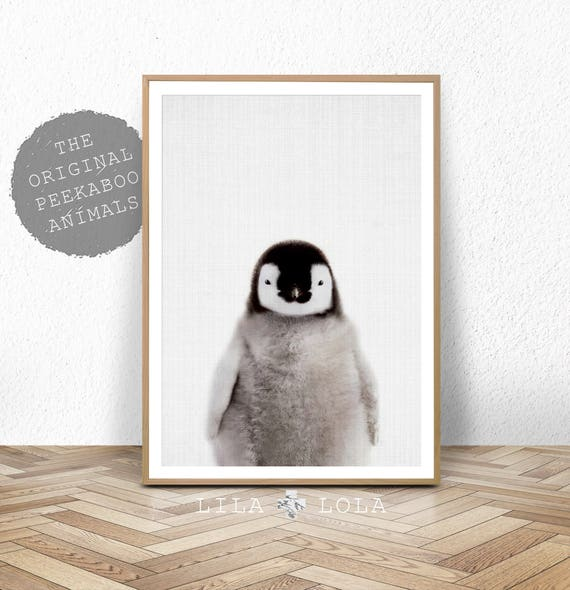 Nursery Animal Wall Art Print, Baby Penguin, Printable Digital Download, Emperor Penguin Chick, Large Poster, Nursery Decor, Babies Room Art