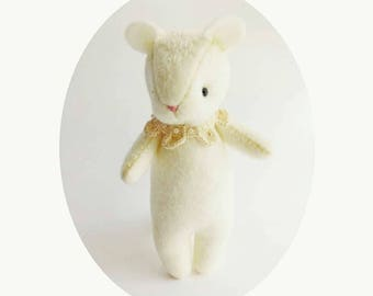Handmade Cute Furry Creature Felt Doll, Collectible White Mouse Like Felt Animal with Crocheted Collar