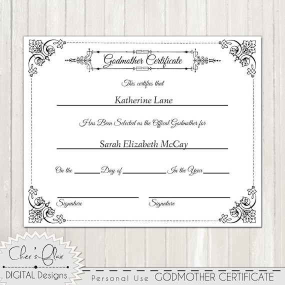 Godmother certificate official godfmother certificate 8 x godmother certificate official godfmother certificate 8 x 10 or other size high quality 300 dpi custom yadclub Gallery