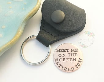 Rustic Copper ~ Golf Ball Marker ~ Retirement Gift ~ Leather Case ~ Meet Me On The Green ~ Kick Putt  Father's Day ~ Gift for Him ~ Under 25