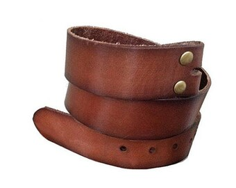 Vintage Style Brown Leather Snap Belt Strap - Genuine Cow Hide - All Sizes - Removable belt strap - Cool Gifts for Him - Men - Guys