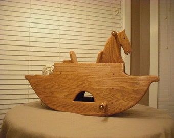 Oak childs rocking horse