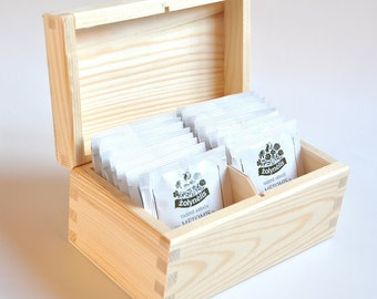 Unfinished Wood Tea Box. 2 compartments. Unpainted Wood Tea Box. Wooden Storage Box. Decoupage Box