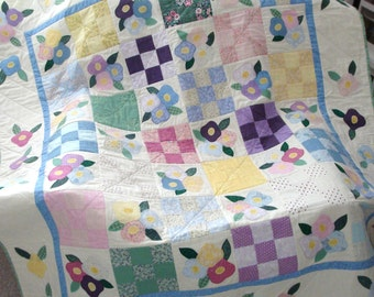 Flower Checkerboard Large Lap Quilt Made from Soft Vintage Quilting Fabrics in Pastels with Bright Accents