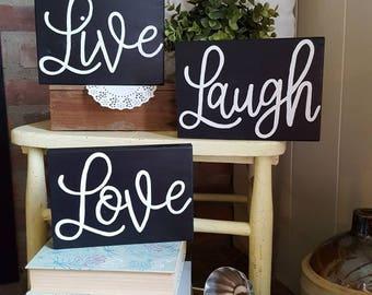 Mini Live Laugh Love Wood Signs