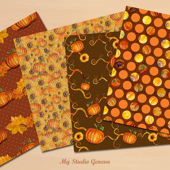 Thanksgiving Paper Pack Fall Watercolor Paper Thanksgiving