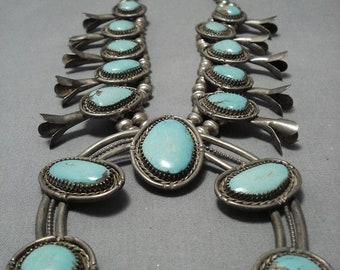 Quality Vintage Native American Navajo Turquoise Sterling Silver Squash Blossom Necklace Old