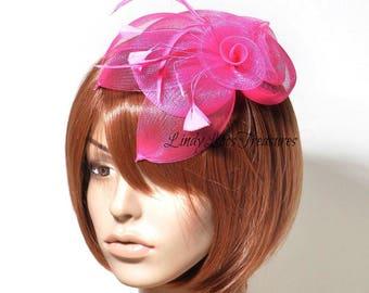 Hot Pink Sinamay Hat Fascinator, Bridal Fascinator, Wedding Fascinator, Derby Hat, Melbourne Cup