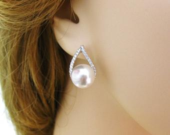 Bridal Pearl Earrings Wedding Jewelry Cubic Zirconia Teardrop Earrings Swarovski 10mm Pearl Silver Stud Earrings Bridesmaids Gift (E105)