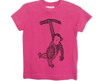 Pink Monkey Kids Tshirt Size 2 4 6 American Apparel Cotton T2 T4 T6