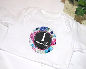 Milestone Baby Stickers | Belly Babe™ | Black Floral | 1st Year | Bonus Just Born Set included | FREE SHIPPING