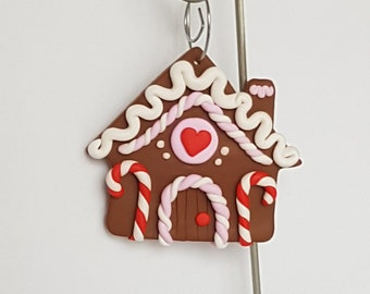 Handcrafted Gingerbread House Christmas Ornament - Polymer Clay Ornament - Christmas Decor
