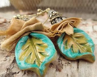 Turquoise and Gold Boho Sari Silk Clay Earrings