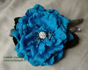 Handmade dodgerblue satin flower brooch, blue flower clip & pin
