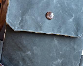 Waxed canvas small diaper bag/ tote gray