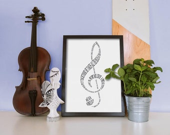Treble Clef Sibelius Word Art Print | Classical Music | Printable Art | Music Art | Music Lover | Bass Clef | Musical Artwork