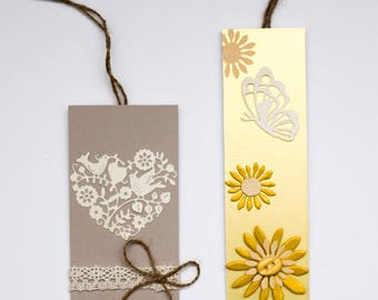 SET OF TWO Bookmarks, Handmade Bookmarks, Flower Bookmarks, Book Lover Gift, Bookmark Art, Notebook, Book, Journal, Reader Gift