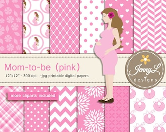 Pregnant Mom Digital papers and Clipart SET, Mom-to-be for Baby Girl, Baby Shower, Gender Reveal Digital scrapbooking