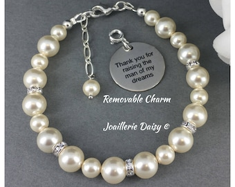 Swarovski Bracelet Gift for Mother of the Groom Thank you for raising the man of my dream Mother in Law Gift Wedding Thank You Pearl Jewelry