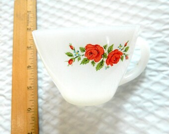Vintage Collectible FIRE KING CUP With Flowers
