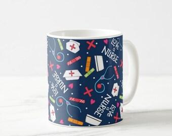 Love A Nurse Navy Blue Whimsy Art 11 oz Ceramic Mug, Nursing Accessories, Nurse Gift, Nurse Beverage, Medical Design