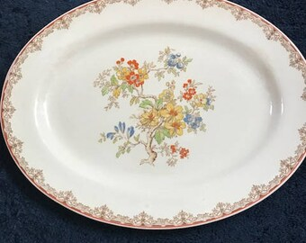 Harker Pottery Vintage Floral  Oval Platter  - Floral, Shabby Chic/Made in USA