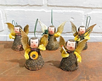 Vintage West German Angel Ornaments, Spun Cotton Angels with Mica Glitter, Chenille Stem Arms, Bottle Brush, C14