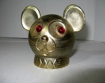 1970's Mouse Head Vintage Metal Coin Bank, Souvenir Coin Metal Bank, Promotional Metal Bank.