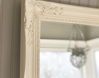 Ivory Bedroom Mirror, White Farmhouse Vanity Mirror